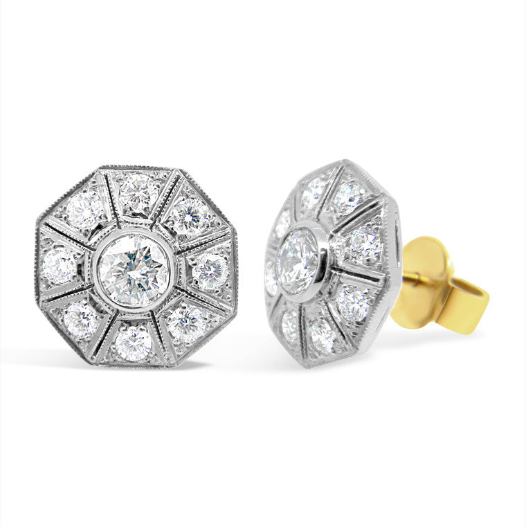 'Gatsby - Octagonal' Art Deco style diamond earrings  WPE01