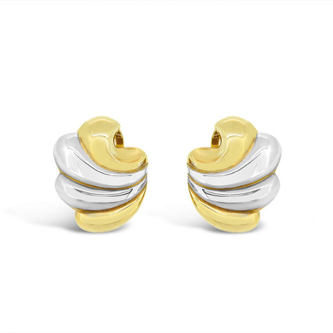 Two tone 'swirl' clip on earrings   WPE44