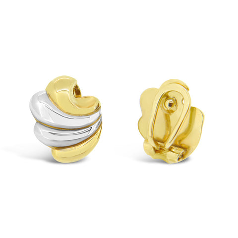 'Swirl' Gold Two-Tone Clip on Earrings
