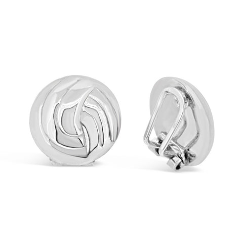'Round Knot' White Gold Clip on Earrings