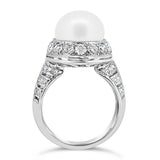 South Sea pearl and diamond dress ring side profile
