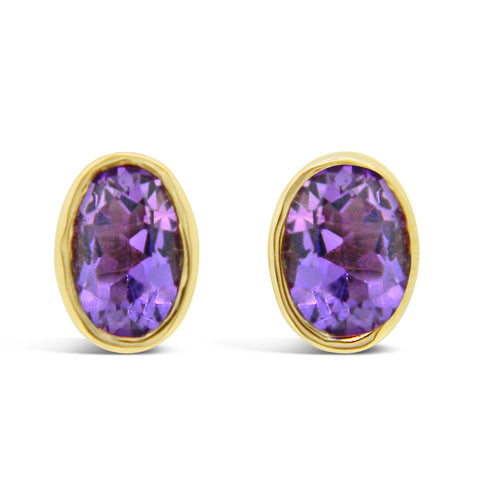 Oval Bezel Set Gemstone Studs