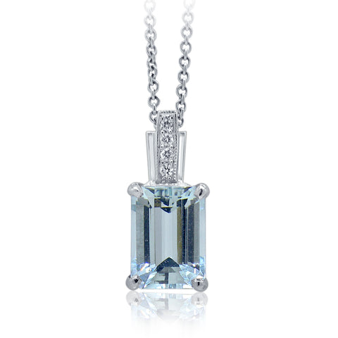 Emerald Cut Aquamarine & Diamond Pendant E.1002