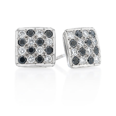 Black & White 'Pave-Chess' Earrings I.3868