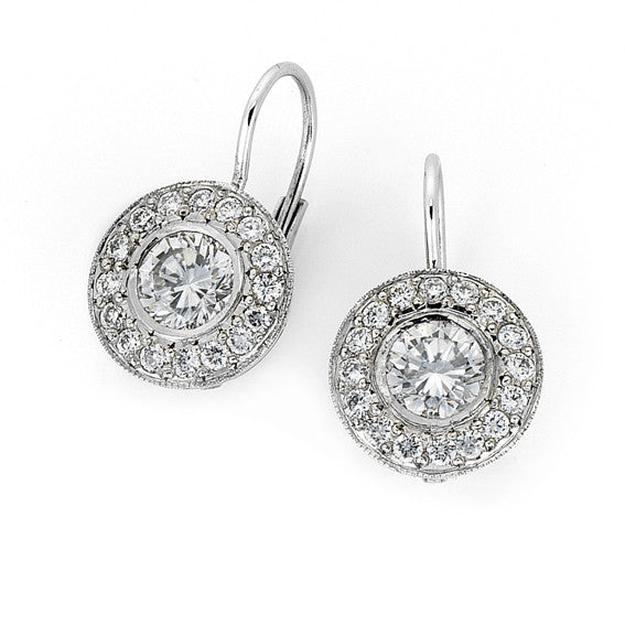 Halo diamond drop earrings WPE34