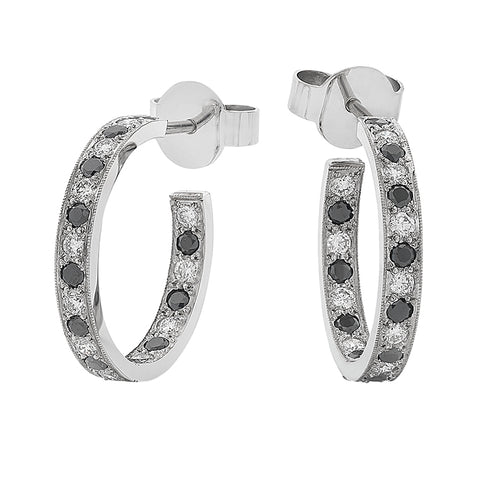 'Eternal' Black & White Diamond- Set Hoop Earrings