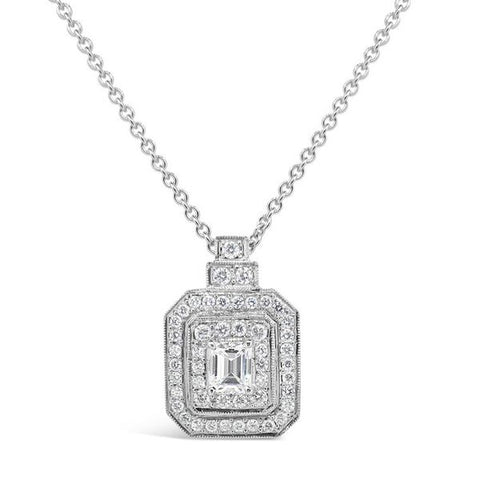 Emerald Cut Diamond Double Halo Pendant P.5125