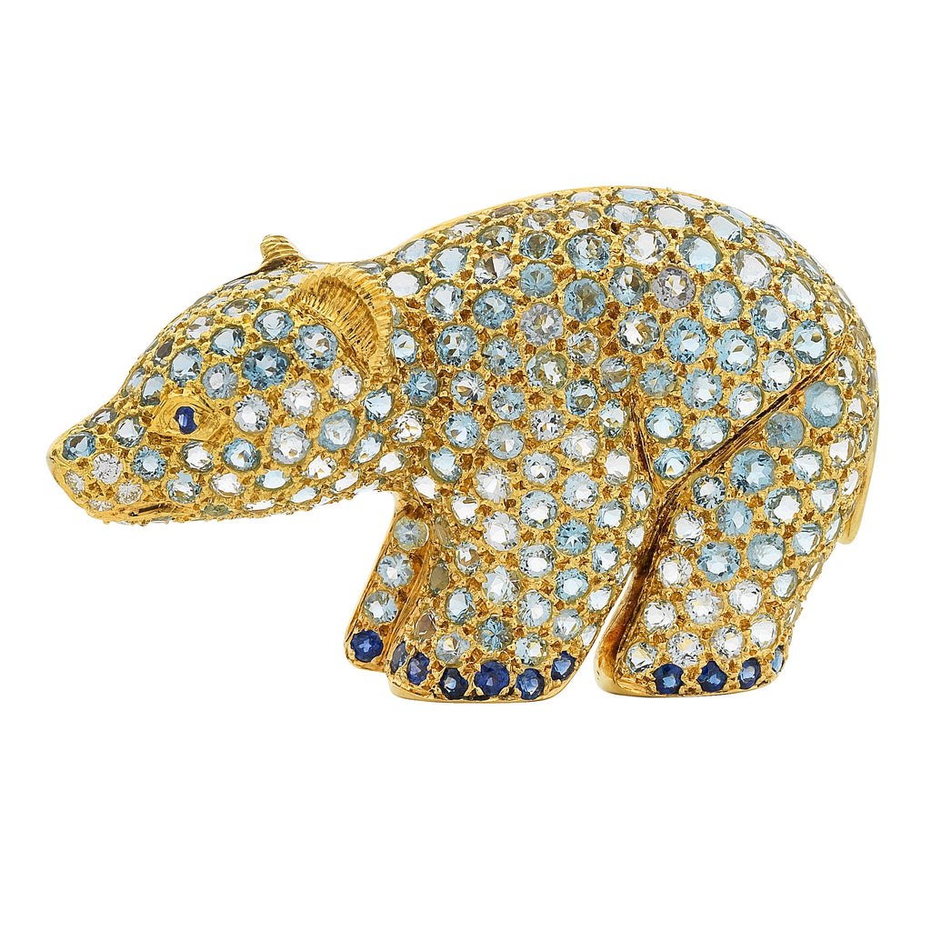 animal jewellery, polar bear brooch, Jean Vitau, aquamarine, diamond and sapphire set, 18kt, vintage