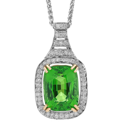 Peridot & Diamond Halo Pendant E.1144