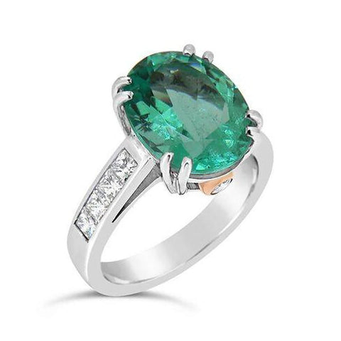 'Gelato' Oval 4.66ct Emerald & Diamond Ring