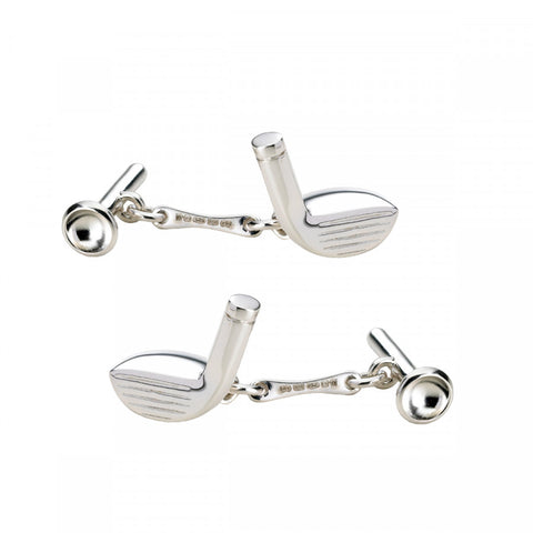 Deakin & Francis Sterling Silver Golf Club & Tee Cufflinks
