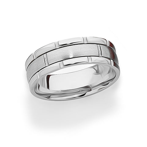Mens 18ct White Gold Pattern Band