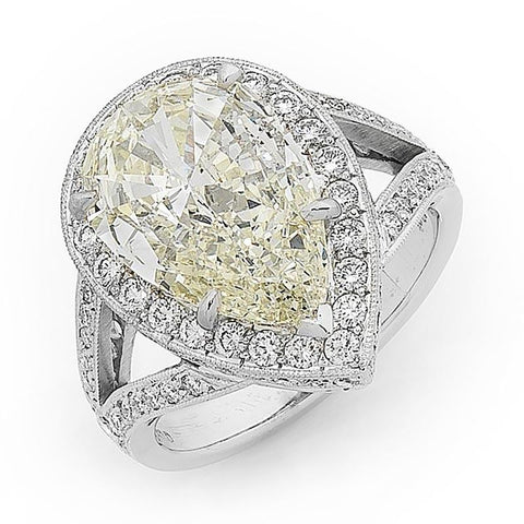 'Halo' 4.60ct Pear Shaped Diamond Ring R.606A