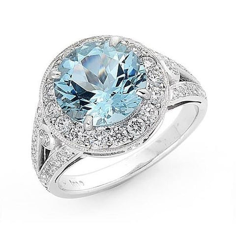 Halo Aquamarine & Diamond Ring  WPR74