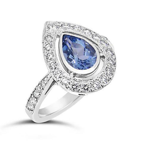 Halo Pear Shaped Sapphire & Diamond Ring