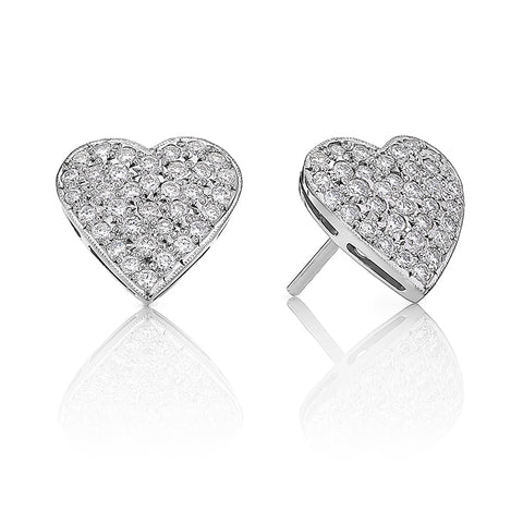 Heart Shaped Pave Diamond Earrings I.1642