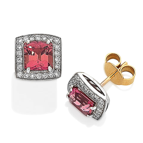Two-Tone Pink Tourmaline and Diamond Earrings
