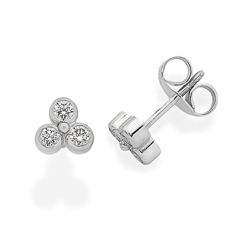 Handmade White Gold Trefoil Diamond Stud Earrings
