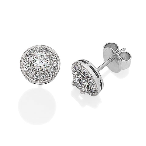 Brilliant Cut Diamond Halo Earrings I.4007