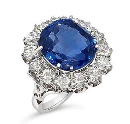 Sapphire & Diamond Cluster Ring R.627A