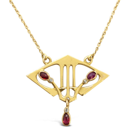 Art Nouveau Ruby & Diamond Necklace N.994
