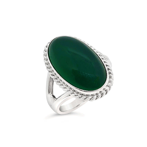 Vintage Georg Jensen Green Agate Ring #17 OV.104