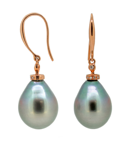 18kt Pink Gold Tahitan Pearl Drop Earnings
