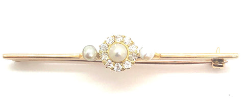 Edwardian Pearl & Diamond Brooch P.5330