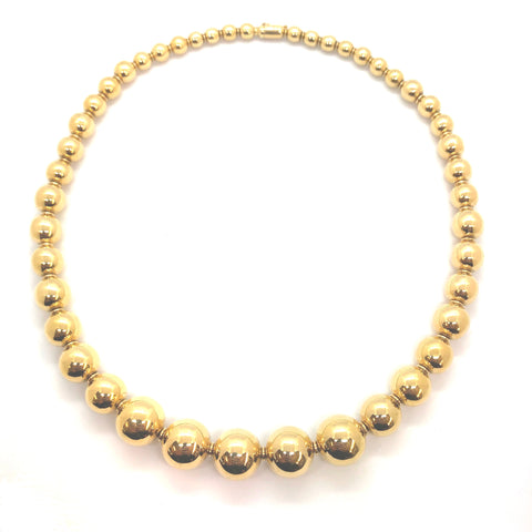 1980's Gold Bead Necklace N.937