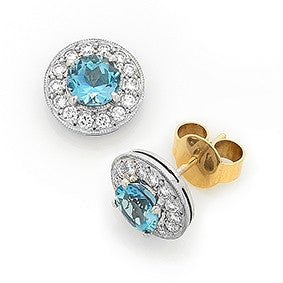 Aquamarine & Diamond 'Halo' Earrings   WPE25