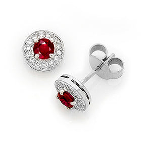 Burmese Ruby & Diamond 'Halo' Stud Earrings I.1473