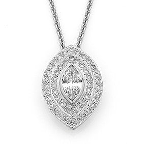 Double 'halo' marquise shape diamond pendant   WPP38