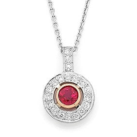 Two tone ruby and diamond pendant   WPP29