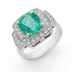 Cushion cut emerald and diamond ring   WPR80