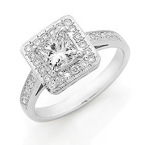 GIA Princess Cut Halo Diamond Ring