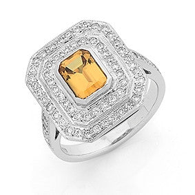 Yellow Emerald Cut Sapphire & Diamond Ring   WPR81