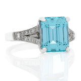 Aquamarine & Diamond Ring O.4140