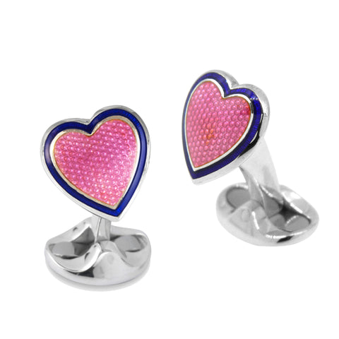 Sterling Silver Pink & Blue Heart Cufflinks