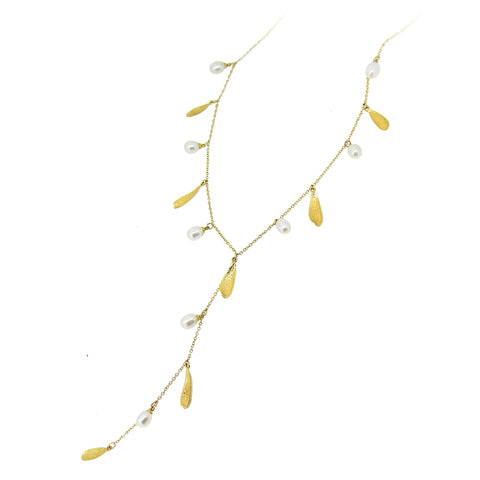 Delicate 18ct Gold Leaf & Pearl Y Necklace