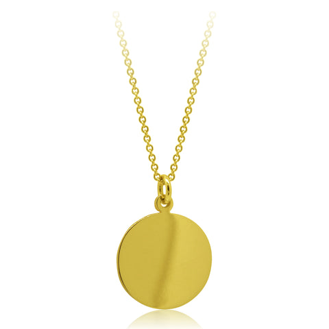 Minimalist 18kt Yellow Gold Medallion/ Disc Pendant