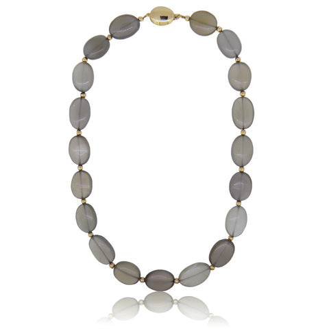Smokey Oval Moonstone Bead Necklace