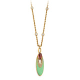 Bulgari 'Elisia' Tourmaline Diamond Gold Pendant Necklace