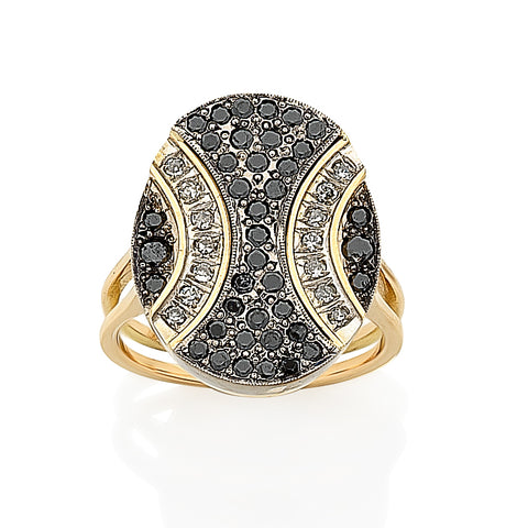 Retro 14ct Gold Black and White Diamond Rings