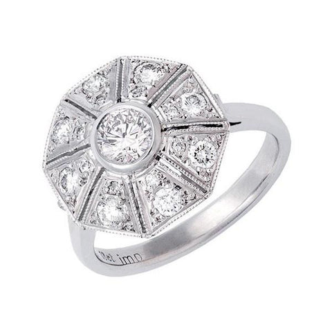 Octagonal Art Deco style diamond ring   WPR04