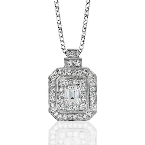 Emerald-Cut Diamond 'Double Halo' Pendant