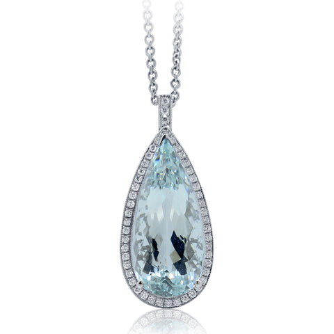 Pear Cut Aquamarine & Diamond Pendant