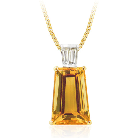 Superb 9.59ct Golden Beryl and Diamond Pendant
