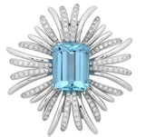 Verdura Style 28.00 Carat Aquamarine and Diamond Brooch