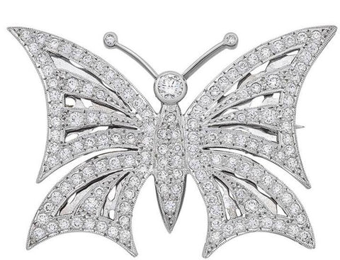 Diamond Butterfly Brooch J.2296