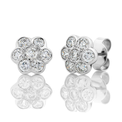 'Daisy  Diamond Cluster Stud Earrings I.3940